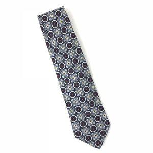 Vintage J. Crew 100% Silk Navy Blue Red Tie